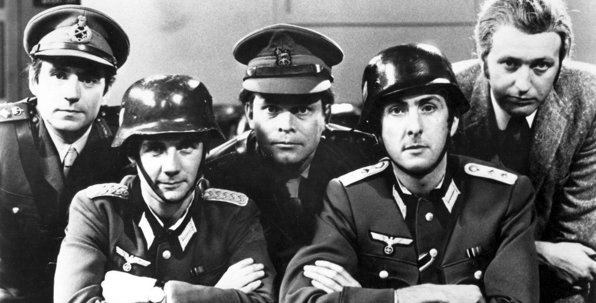 """""""Latający Cyrk"""". Od lewej: Terry Jones, Michael Palin, Terry Gilliam. Eric Idle i Graham Chapman. Na tą fotkę nie załapał się John John Cleese."""