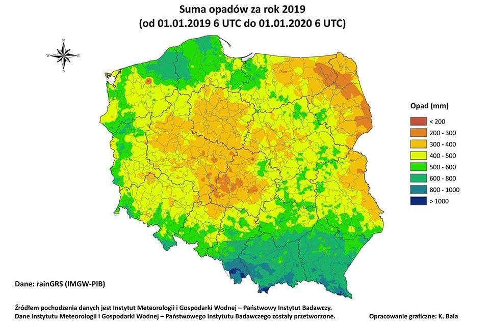 Wykres sumy opadów - a raczej ich braku - w 2019 r. Widoczny wyraźnie odcinający się, suchy pas środkowej oraz północno-wschodniej Polski (za: Centrum Koordynacji Projektów Środowiskowych)