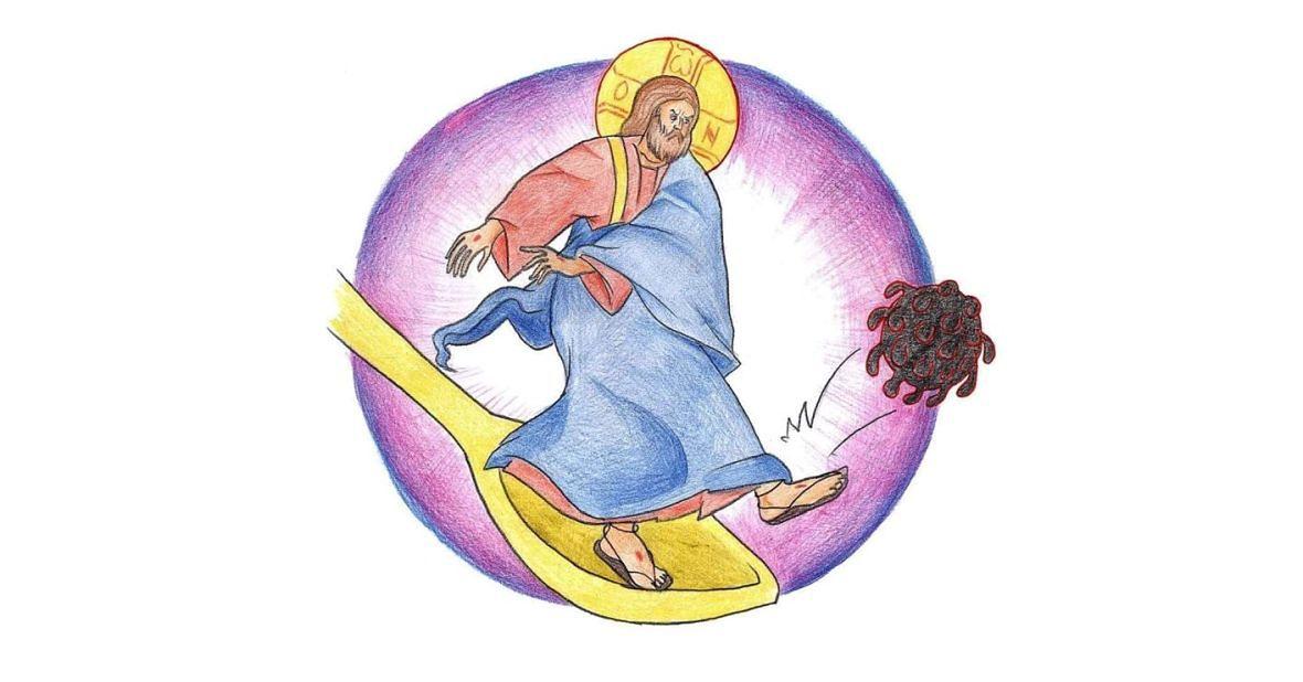 Chrystus wykopujący koronawirusa. Rysunek ze strony: https://www.facebook.com/fanichbm/posts/2783430278409474