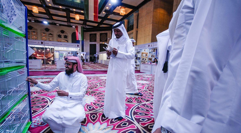 """Kolorowe dywany, zdobione sufity i złote klamki. Z takim """"przytupem"""" gołębie prezentowane są tylko w Katarze"""
