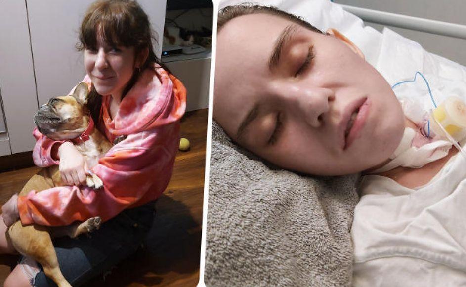 Po lewej: Gosia Mańka z pieskiem. Po prawej - zdjęcie Gosi zrobione w okresie po próbie samobójczej, w szpitalu. Zdjęcia publikujemy za zgodą mamy Gosi
