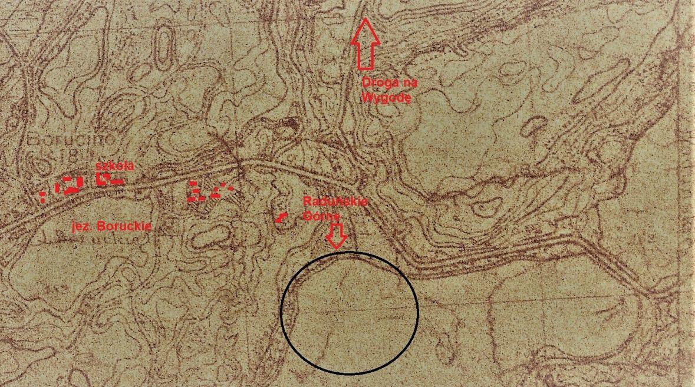 Mapa topograficzna z roku 1937, na której uwzględniono Borucino. Kółkiem autor zaznaczył możliwe miejsce, w którym kobiety topiły się w jeziorze