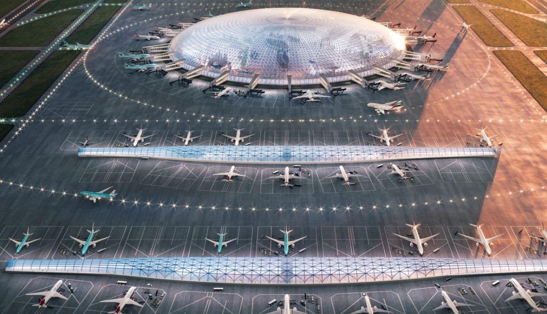 Jedna z wizji architektonicznych przyszłego portu lotniczego przedstawiona na stronie cpk.pl