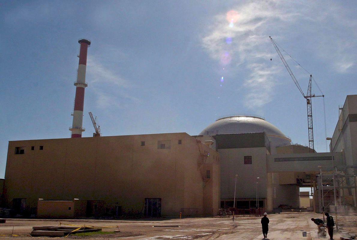 Zabudowania irańskiej elektrowni atomowej w Buszehr