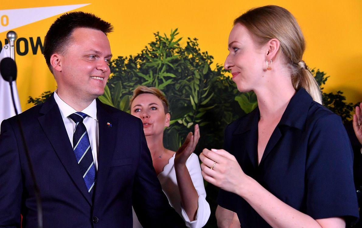 Wybory prezydenckie 2020. Szymon Hołownia z żoną Urszulą Brzezińską-Hołownią