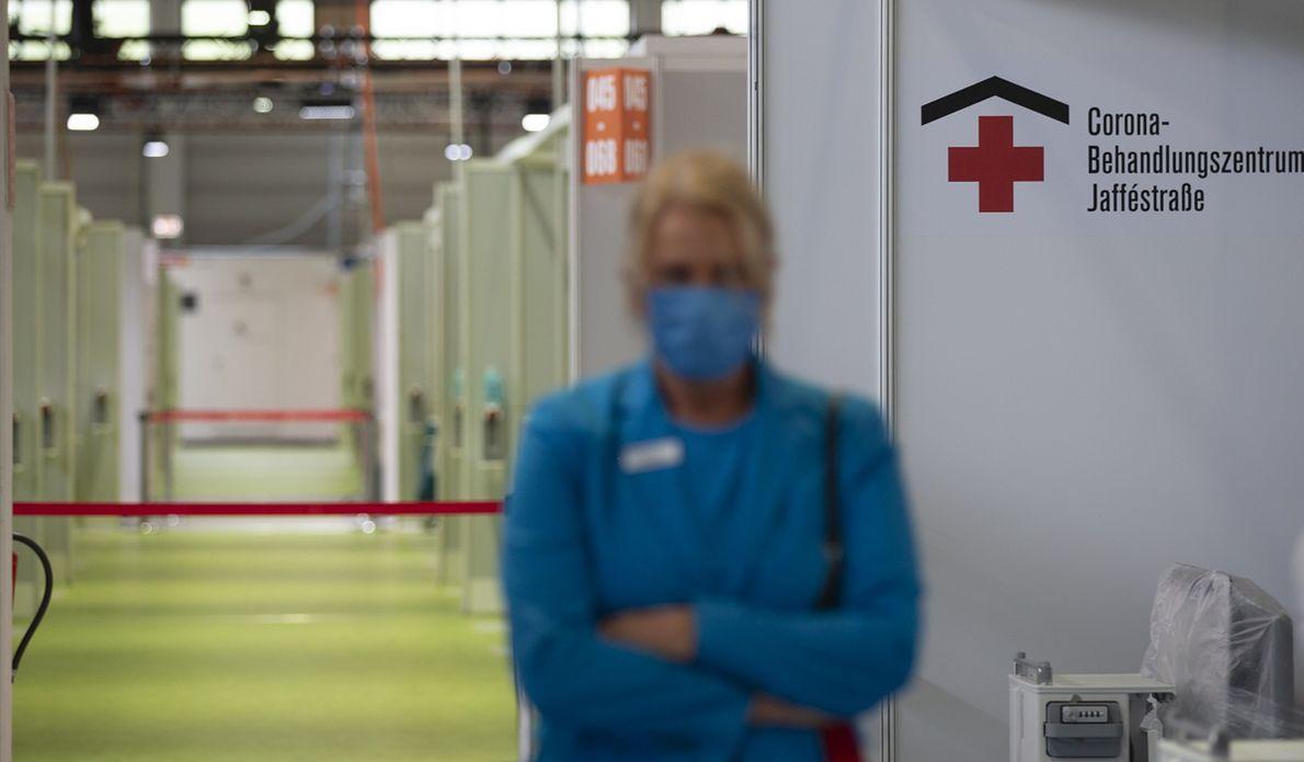Tymczasowy szpital na 488 łóżek, zbudowany w Berlinie na wypadek nasilenia się epidemii koronawirusa, 14 sierpnia 2020 r.