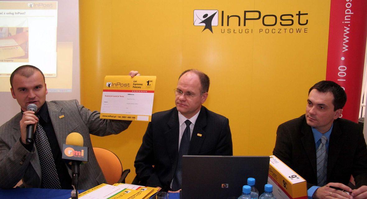 Konferencja prasowa InPost, pierwszego niezależnego operatora pocztowego, prowadzącego swoją działalność na terenie całego kraju. Grudzień 2006 roku