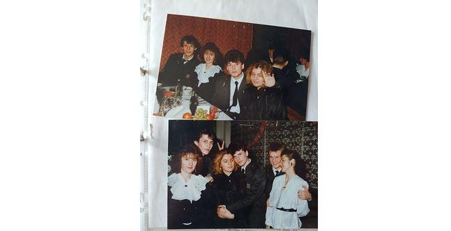 Robert (na zdjęciu u góry pierwszy z lewej) na balu maturalnym